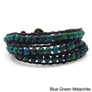 Green Forest Malachite/ Multi/ White Turquoise Triple Wrap Leather Bracelet (Thailand)