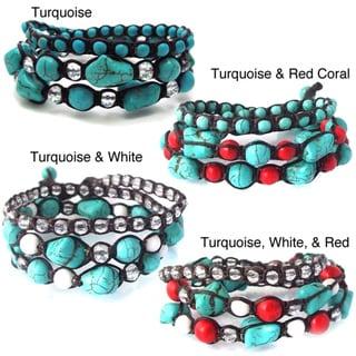 Blue Turquoise Gemstone Triple-Wrap Cotton Rope Tribal Bracelet (Thailand)