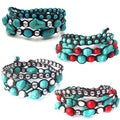 Blue Turquoise Gemstone Triple-Wrap Cotton Rope Tribal Bracelet (Thailand)