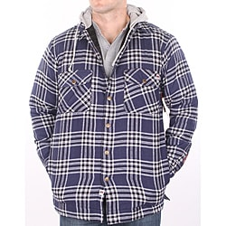 Farmall IH Men's Navy Plaid Hooded Flannel Jacket