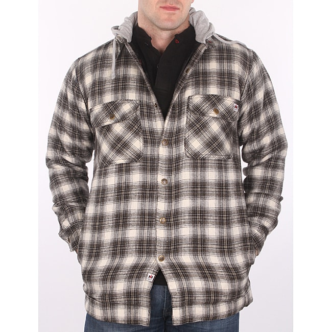 Flannel Motorcycle Jacket >> Farmall IH Men's Cream Plaid Hooded Flannel Jacket - 14204608 - Overstock.com Shopping - Big ...