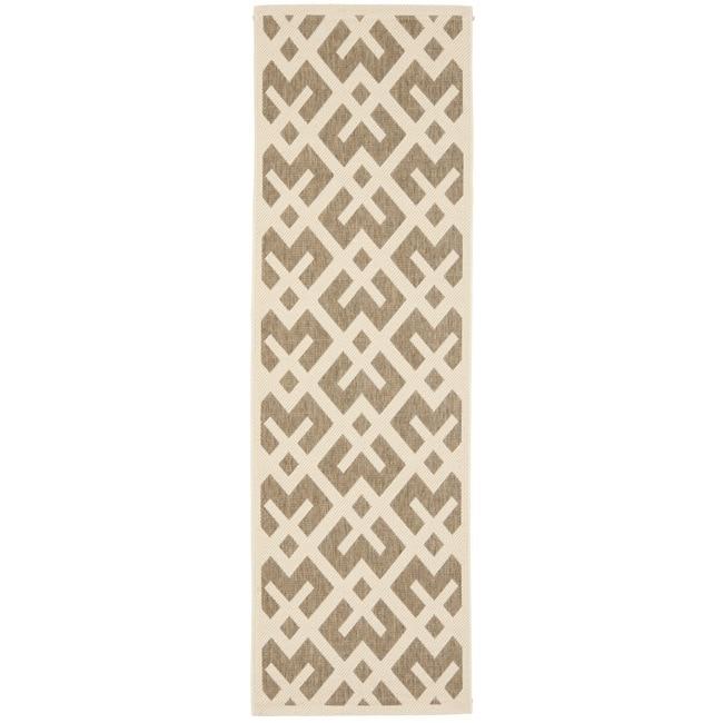 """Safavieh Poolside Brown/Bone Indoor Outdoor Synthetic Rug (2'4"""" x 9'11"""")"""