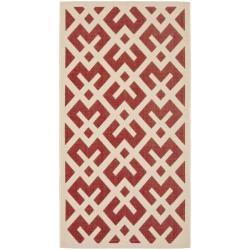 Safavieh Poolside Red/Bone Indoor-Outdoor Geometric Rug (2'7 x 5')