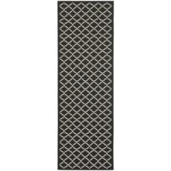 Safavieh Poolside Black/ Beige Indoor Outdoor Rug (2'4 x 9'11)