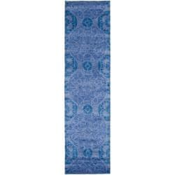 Handmade Chatham Treasures Blue New Zealand Wool Rug (2'3 x 9')