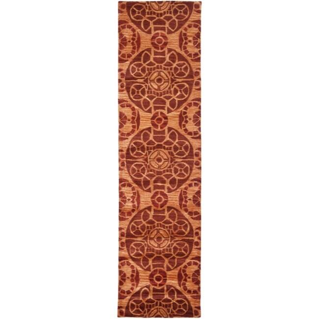 Safavieh Handmade Treasures Cinnamon New Zealand Wool Rug (2'3 x 9')