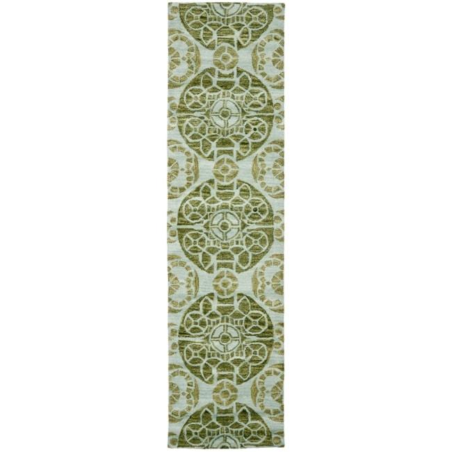 Safavieh Handmade Treasures Turquoise New Zealand Wool Rug (2'3 x 9')