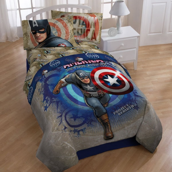 Captain America Twin-size 4-piece Bed in a Bag with Sheet Set