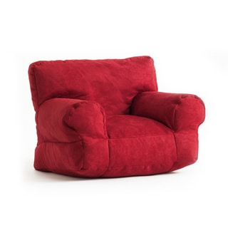 BeanSack Kid's Cinnabar Red Microsuede Bean Bag Club Chair