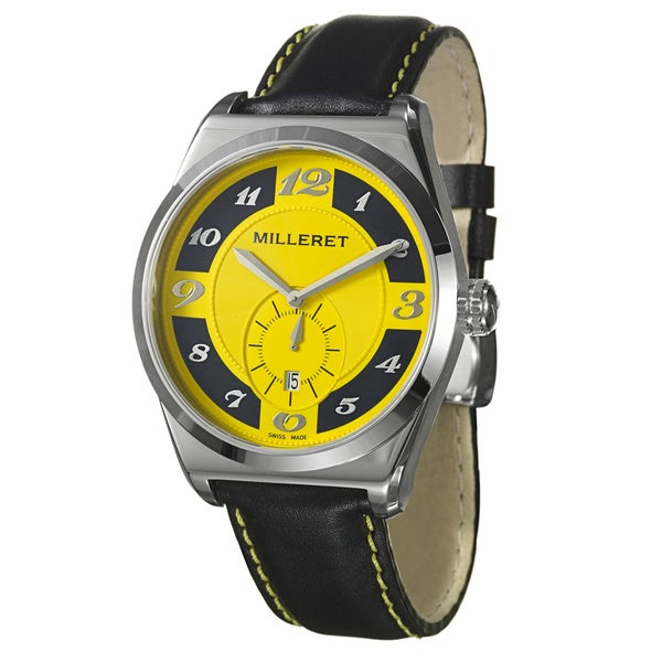 Milleret Men's 'XXL' Stainless Steel Black Yellow Stitching Leather Watch