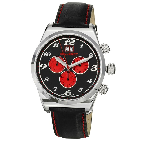 Milleret Men's 'XXL' Stainless Steel Black Red Stitching Leather Watch