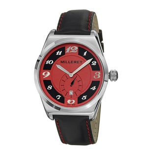 Milleret Men's 'XXL' Stainless-Steel Red-Stitching Black-Leather Quartz Watch