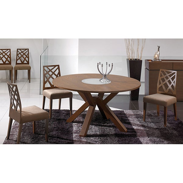 Amelia Lazy Susan Cocoa Finish 7-piece Dining Set