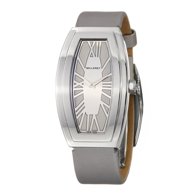 Milleret Women's 'Diva' Stainless Steel Silver Satin Over Leather Watch