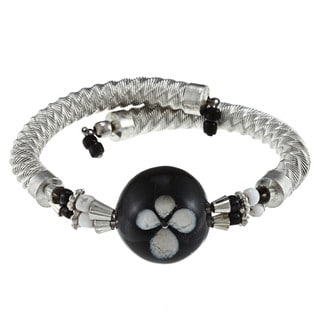 Wrap Bracelet with Black Glass Bead (India)