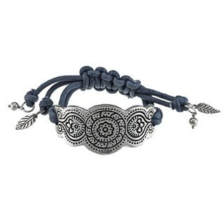 Metal Cuff with Blue Macrame Bracelet (India)