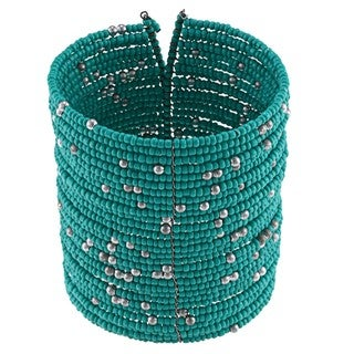 Turquoise and Silver Beaded Wide Cuff Bracelet (India)