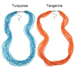 Multi Strand Beaded Turquoise or Tangerine Necklace (India)