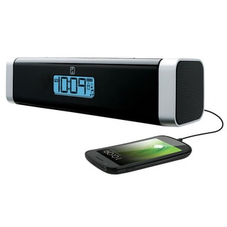 iHome Portable Alarm Clock Stereo Speaker with USB Charging for Smartphones