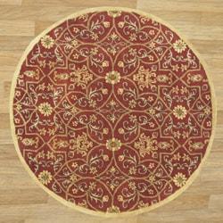 Alliyah Handmade Burgundy New Zealand Blend Wool Rug (6' Round)