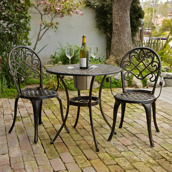 Christopher Knight Home Angeles Cast Aluminum Outdoor Bistro Furniture Set wi
