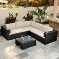 Christopher Knight Home Ventura 4-piece Outdoor Wicker Sectional with Sunbrella Cushions