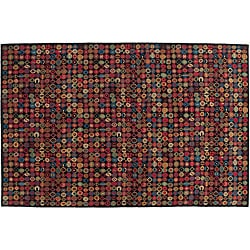 8' x 10' Black Bottle Caps Wool Rug (India)