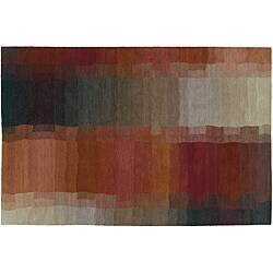 Red 4' x 6' Reflections Wool Rug (India)