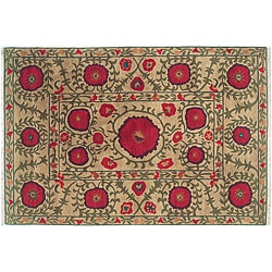 Beige 8' x 10' Poppies Wool Rug (India)