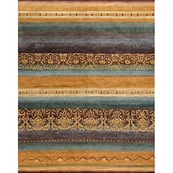 Gold 4' x 6' Arabesque Wool Rug (India)