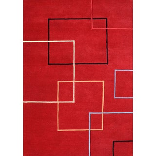 Alliyah Handmade Andy Red New Zealand Blend Wool Area Rug (9' x 12')