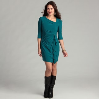 Jessica Howard Women's Teal Ruffle Front Dress