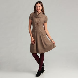 Jessica Howard Women's Ribbed Cowl Neck Sweater Dress