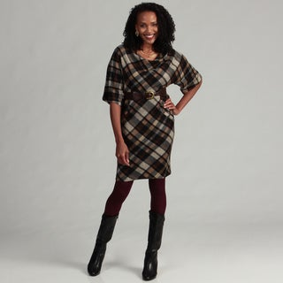 Jessica Howard Women's Plaid Belted Sheath Dress