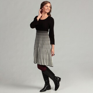 Calvin Klein Women's Black/Ivory Strped Sweater Dress