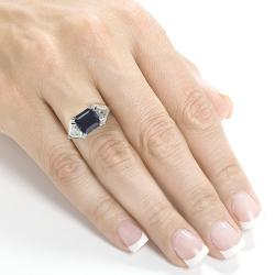 Annello 14k White Gold Chatham Created Blue Sapphire and 4/5 ct TDW Diamond Ring (H-I, VS1-VS2)