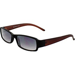 Unisex 'P023BKBNP' Black/ Brown Rectangle Sunglasses