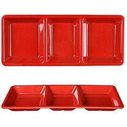 Royal Red Collection Rectangular 3-section Compartment Tray