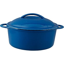 Oster Calera Blue/ White 4.5qt Round Cast Iron Covered Casserole