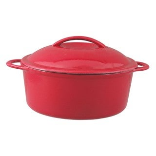 Oster Calera Red/ White 4.5qt Round Cast Iron Covered Casserole Bakeware Set