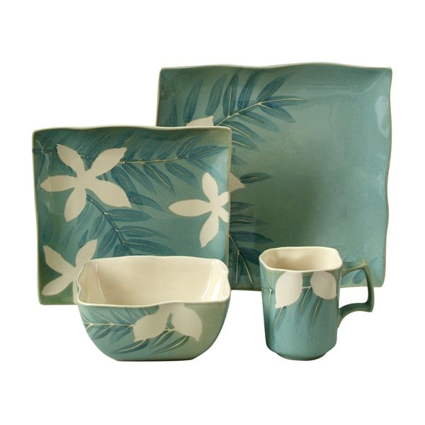 Gibson Spring Grove Green 16-piece Dinnerware Set