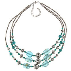 3 Strand Turquoise and Silver Beaded Necklace (India)
