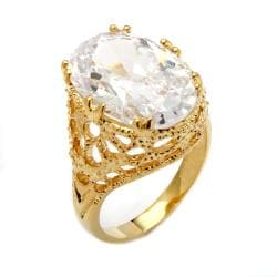 Ultimate CZ 14k Gold Overlay Oval-cut Cubic Zirconia Textured Ring