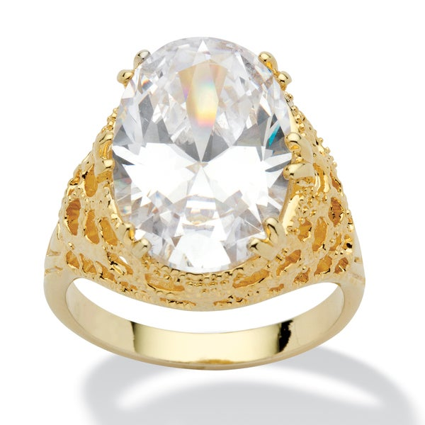 PalmBeach CZ 14k Gold Overlay Oval-cut Cubic Zirconia Textured Ring Glam CZ