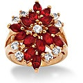 High-polish 14-karat Gold-plated Red-and-white Crystal-flower Ring