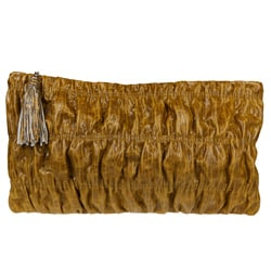Vintage Reign 'Cici' Golden Olive Leather Clutch