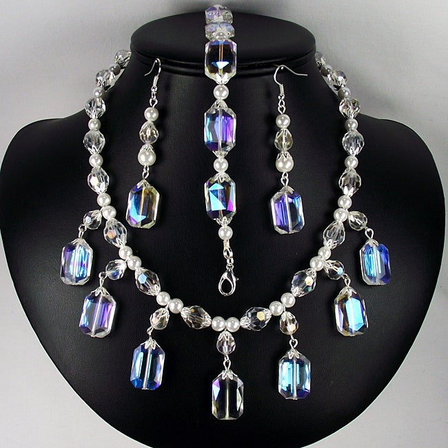 Clear AB Rectangle Crystal and Pearl Jewelry Set