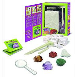 Authentic Crystals and Gems Geology Mining Kit with Hammer and Chisel
