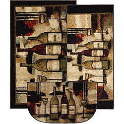 Wine and Glasses Three-piece Kitchen Rug Set