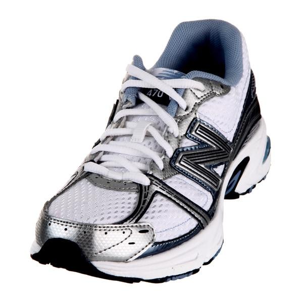New Balance Women's White/Blue Athletic Shoes
